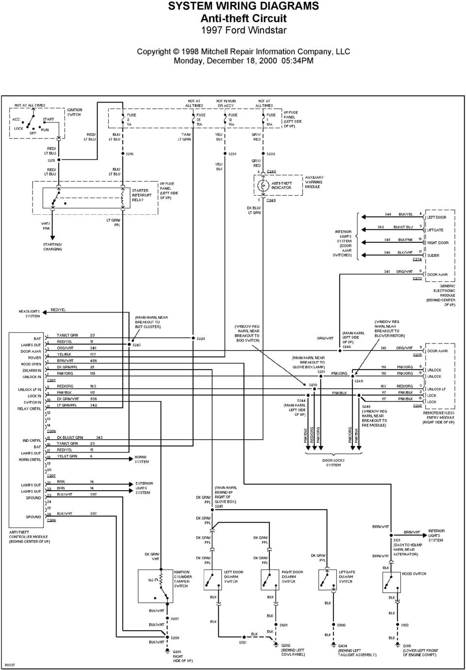 System Wiring Diagrams Air Conditioning Circuits 1997 Ford Windstar 2000 Alternator Diagram Monday