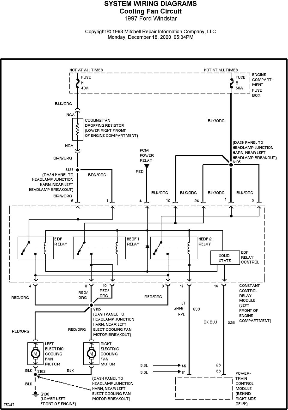 System Wiring Diagrams Air Conditioning Circuits 1997 Ford Windstar 2008 Silverado Cruise Control Diagram 7 Circuit Monday December 18 34pm