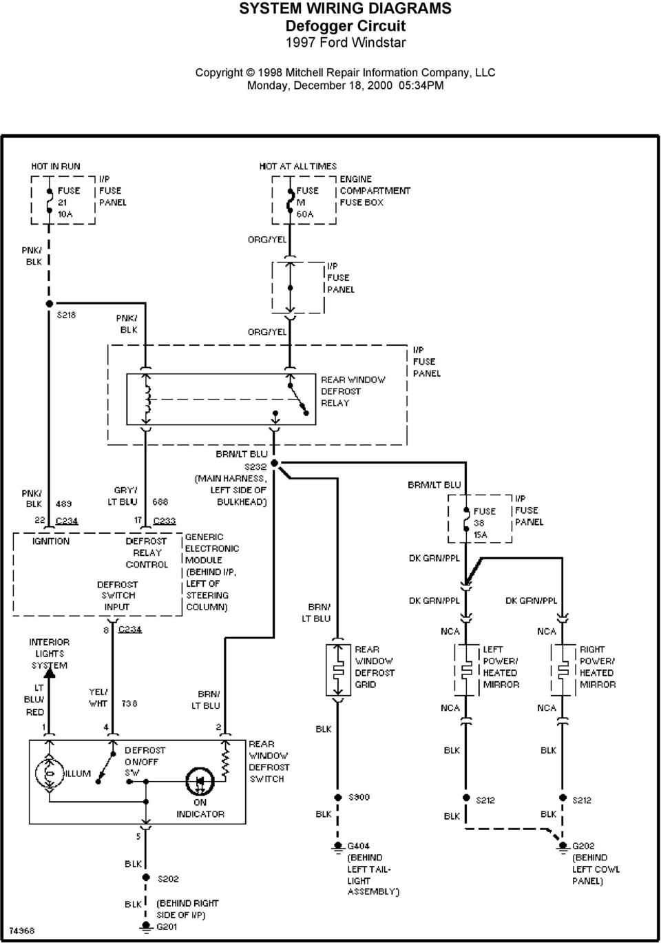 System Wiring Diagrams Air Conditioning Circuits 1997 Ford Windstar Year 9 Circuit Electronic Suspension Monday December 18 35pm