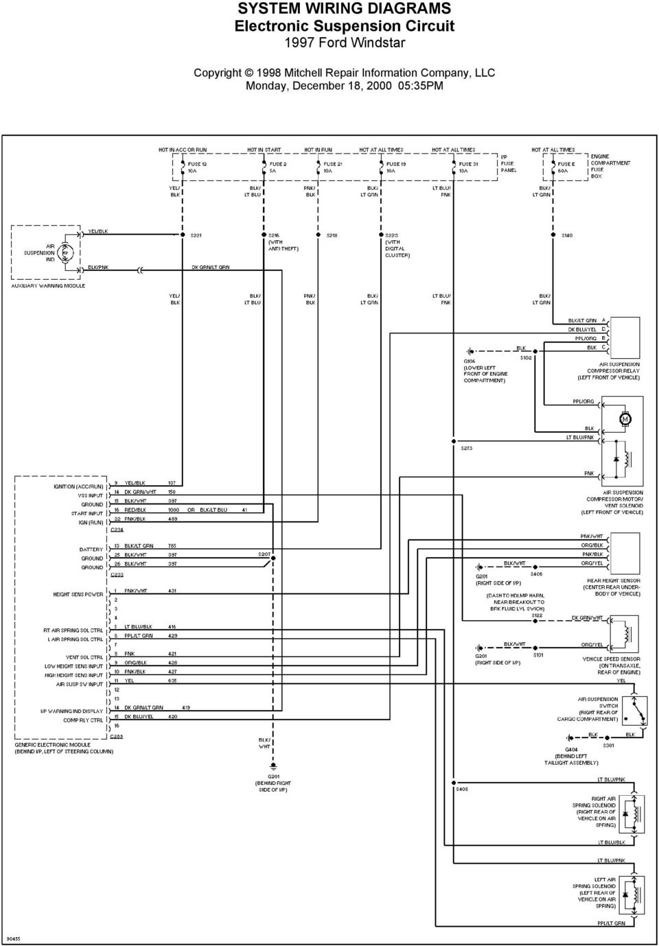 System Wiring Diagrams Air Conditioning Circuits 1997 Ford Windstar Year 9 Circuit Monday