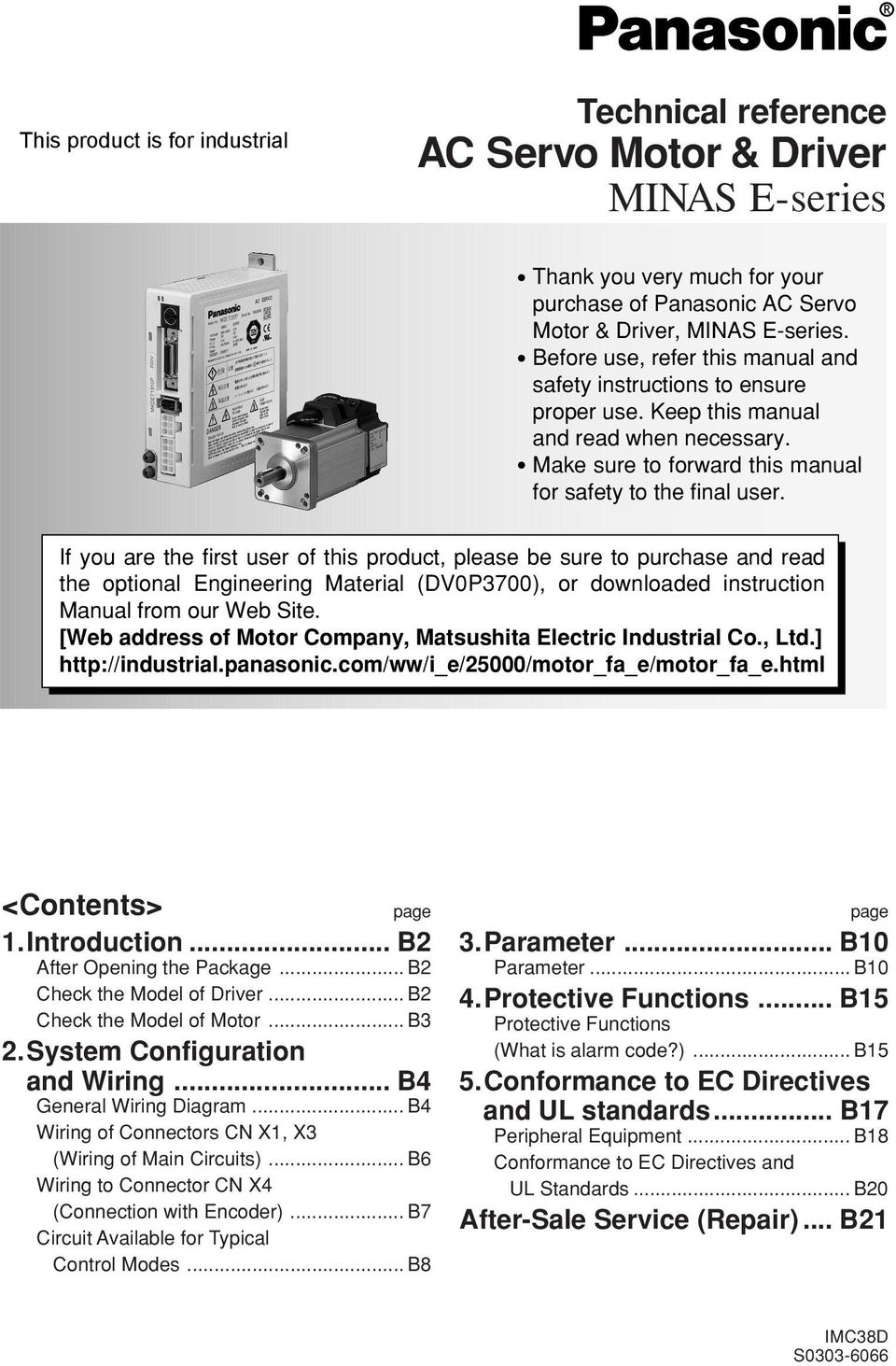 Technical Reference Ac Servo Motor Driver Minas E Series Pdf Picaxe Colour Sensor Page1 6761284 Datasheet Of If You Are The First User This Product Please Be Sure To Purchase And