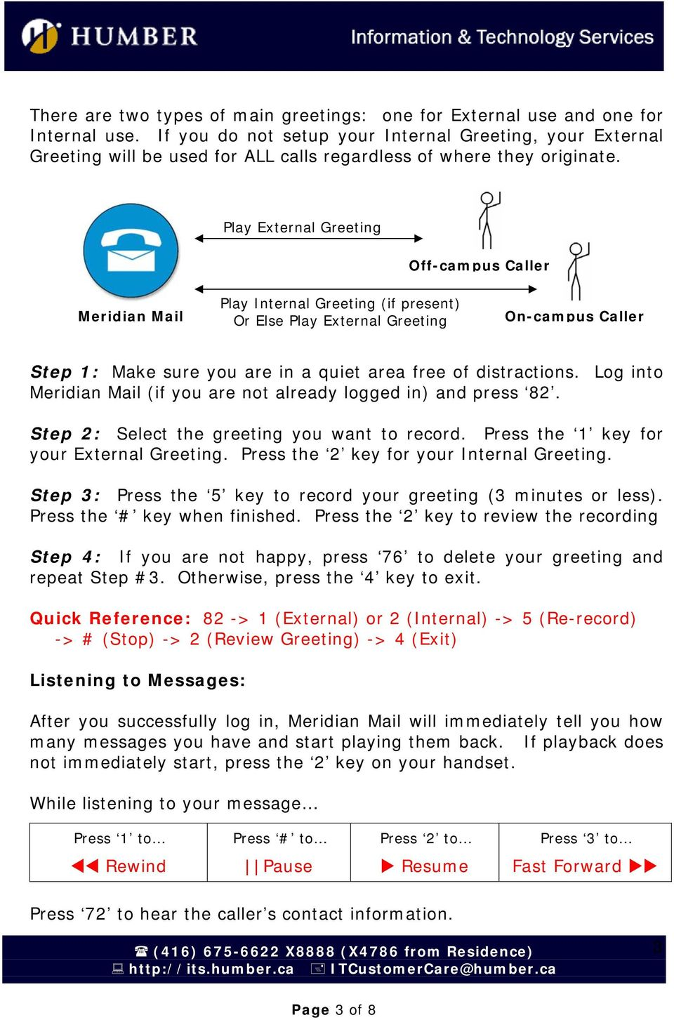 Play External Greeting Off-campus Caller Meridian Mail Play Internal Greeting (if present) Or Else Play External Greeting On-campus Caller Step 1: Make sure you are in a quiet area free of