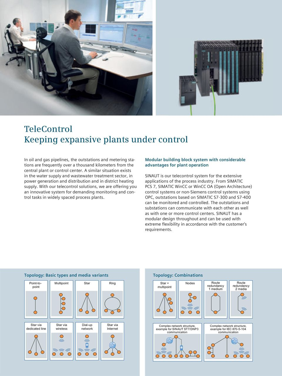 With our telecontrol solutions, we are offering you an innovative system for demanding monitoring and control tasks in widely spaced process plants.