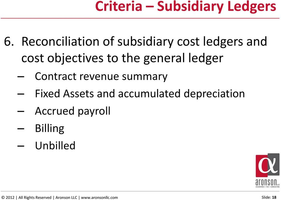 general ledger Contract revenue summary Fixed Assets and accumulated
