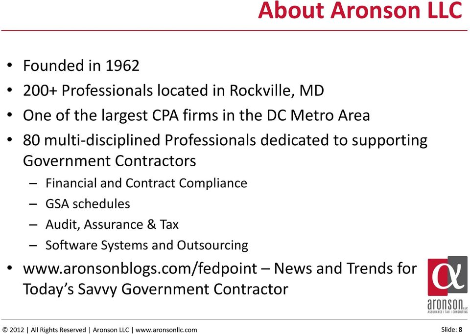 Contract Compliance GSA schedules Audit, Assurance & Tax Software Systems and Outsourcing www.aronsonblogs.