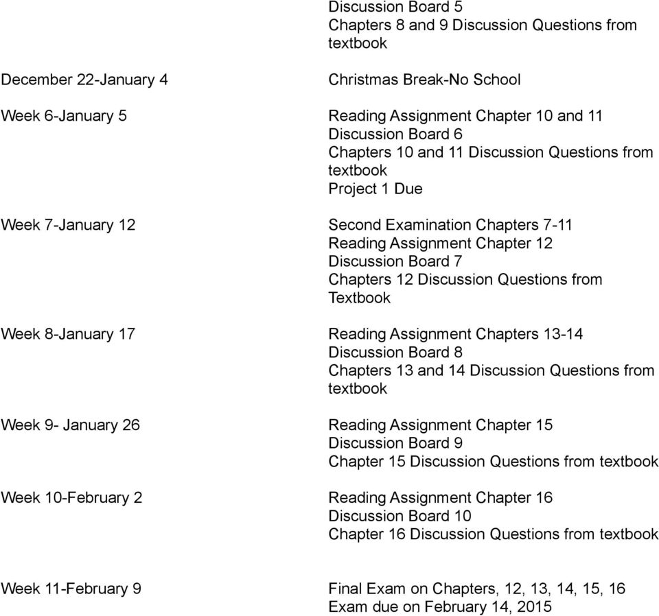 8-January 17 Reading Assignment Chapters 13-14 Discussion Board 8 Chapters 13 and 14 Discussion Questions from Week 9- January 26 Reading Assignment Chapter 15 Discussion Board 9 Chapter 15