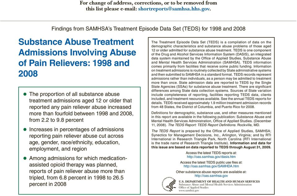 treatment admissions aged 1 or older that reported any pain reliever abuse increased more than fourfold between 1998 and 008, from. to 9.