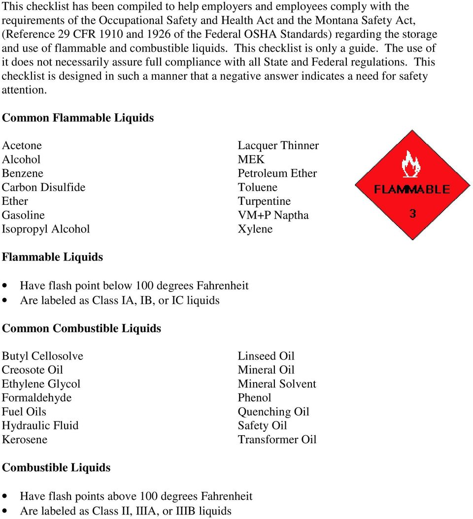 Flammable and Combustible Storage Checklist - PDF
