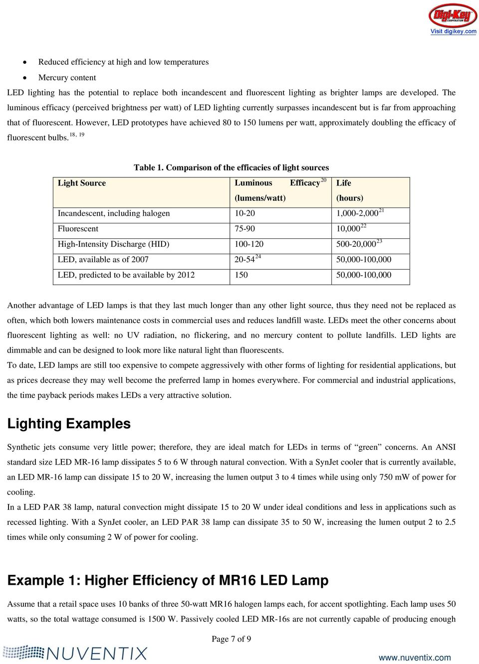 However, LED prototypes have achieved 80 to 150 lumens per watt, approximately doubling the efficacy of 18, 19 fluorescent bulbs. Table 1.