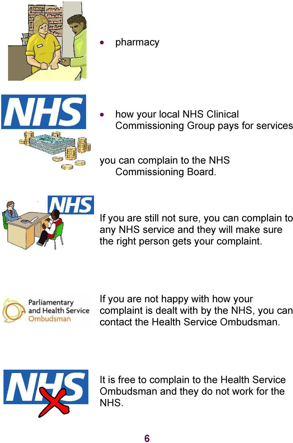 If you are still not sure, you can complain to any NHS service and they will make sure the right person gets your