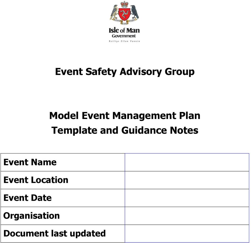 Event Safety Advisory Group. Model Event Management Plan Template ...