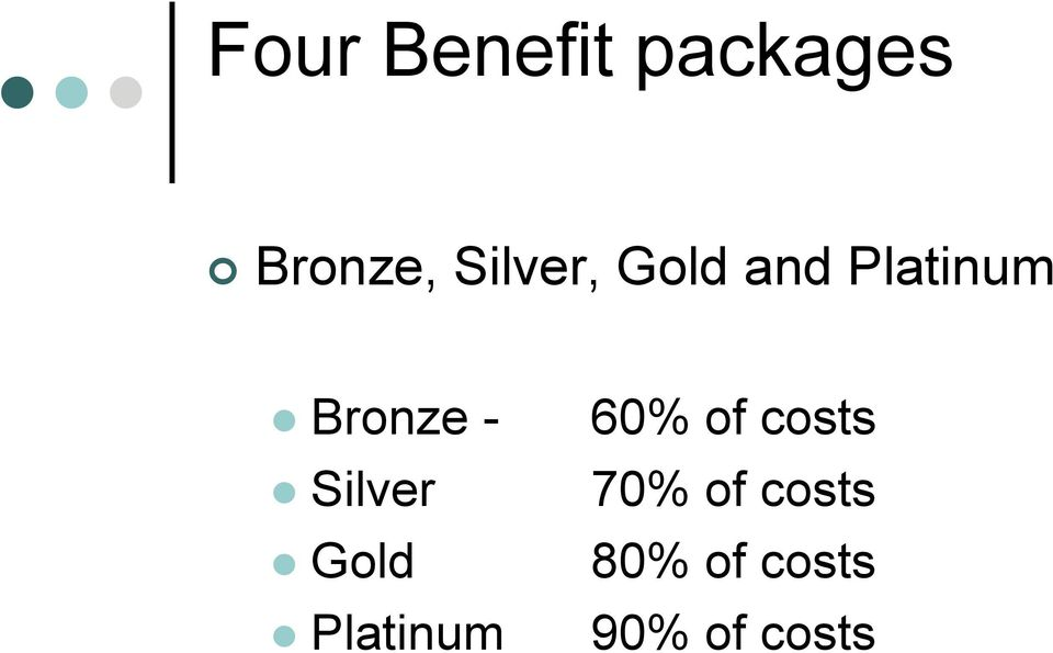 Silver Gold Platinum 60% of costs