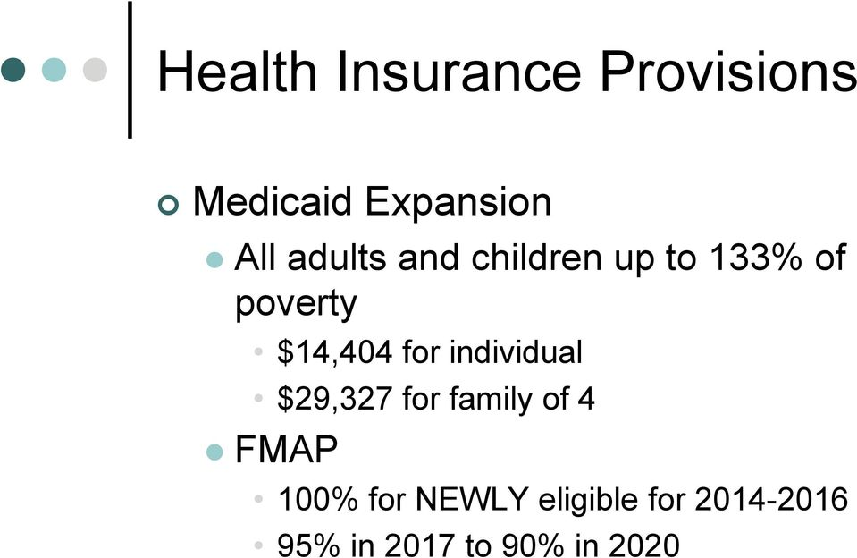 for individual $29,327 for family of 4 FMAP 100% for
