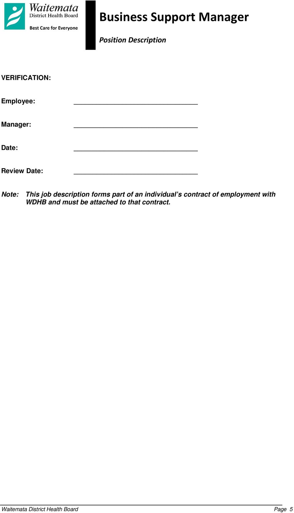 s contract of employment with WDHB and must be