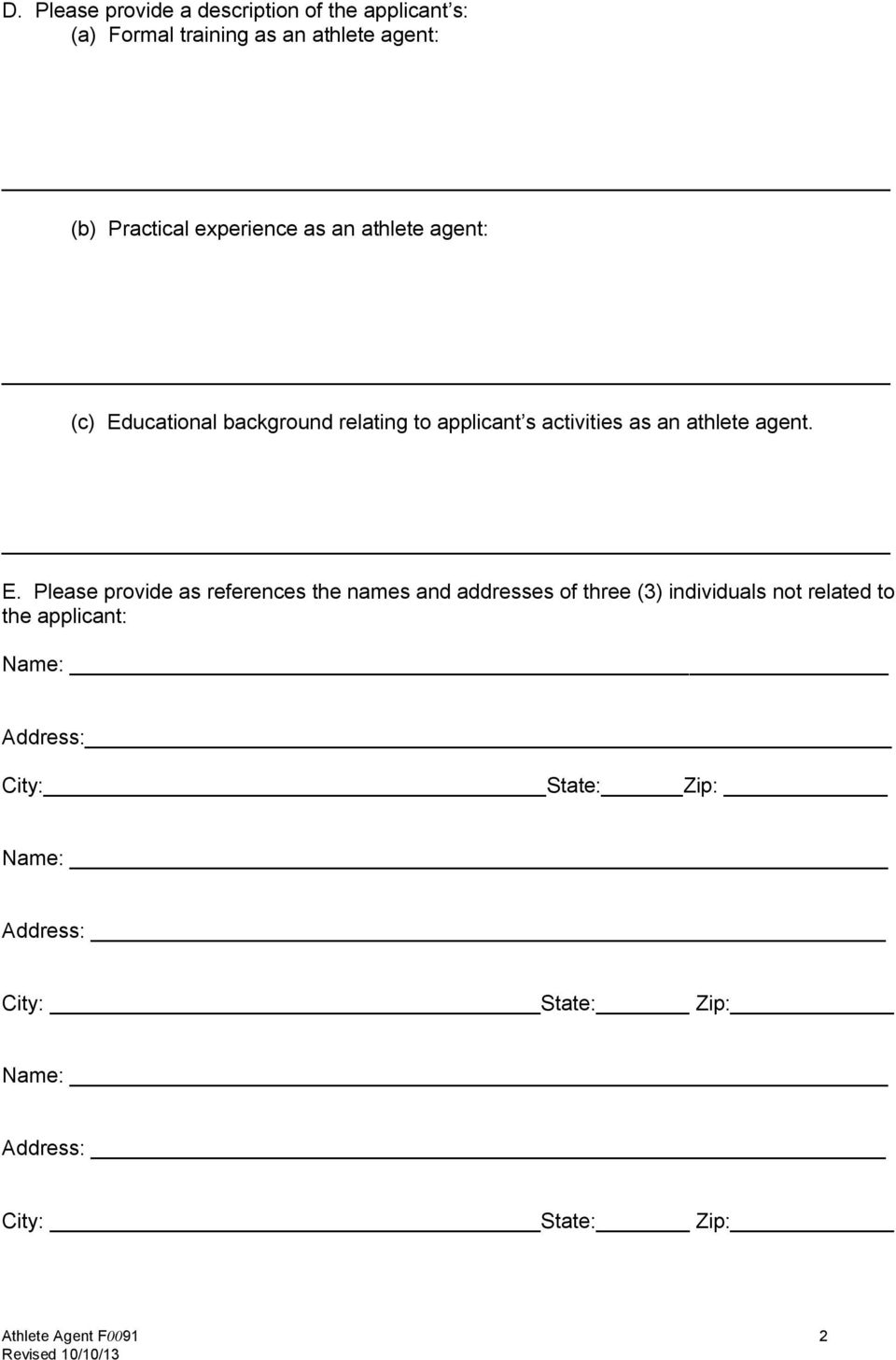 activities as an athlete agent. E.