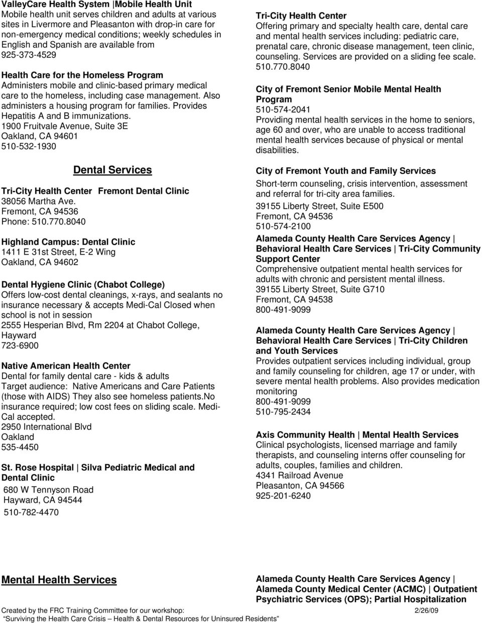Low-Cost Medical, Dental, and Mental Health Resources in the