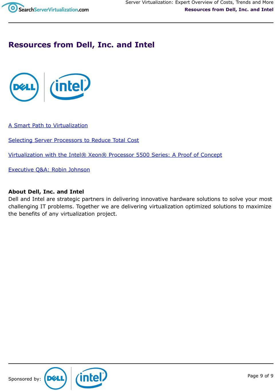 5500 Series: A Proof of Concept Executive Q&A: Robin Johnson About Dell, Inc.