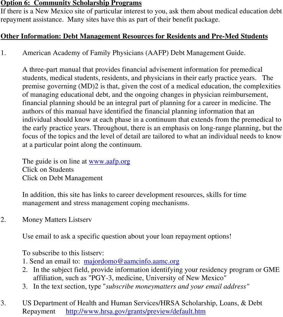 American Academy of Family Physicians (AAFP) Debt Management Guide.