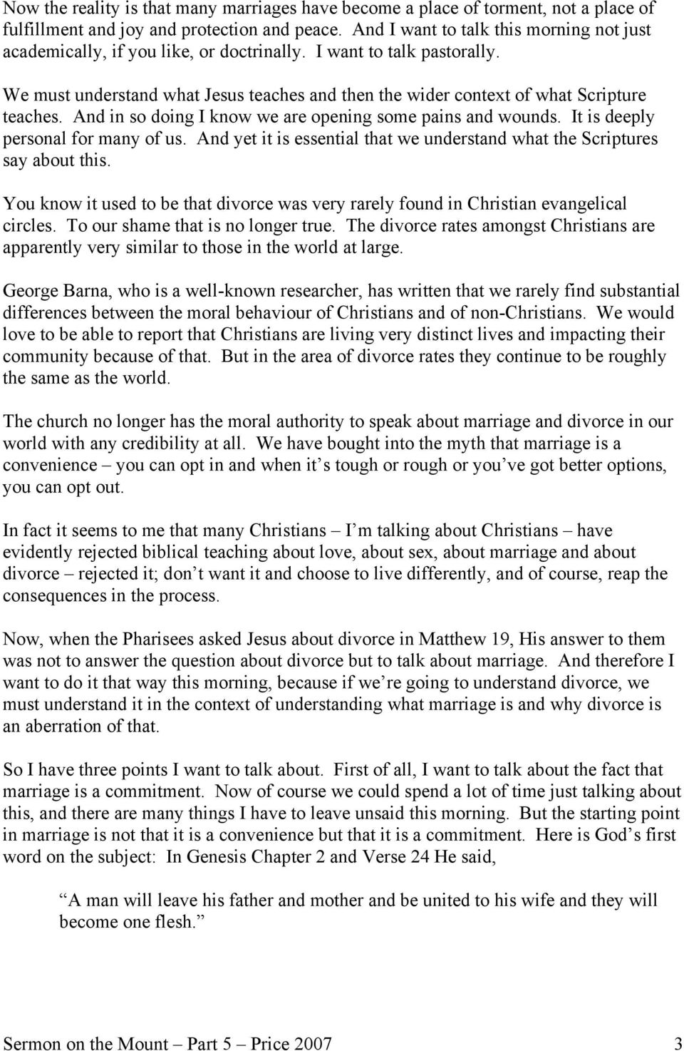 Sermon on the Mount Part 5 The Christian and Divorce Pastor