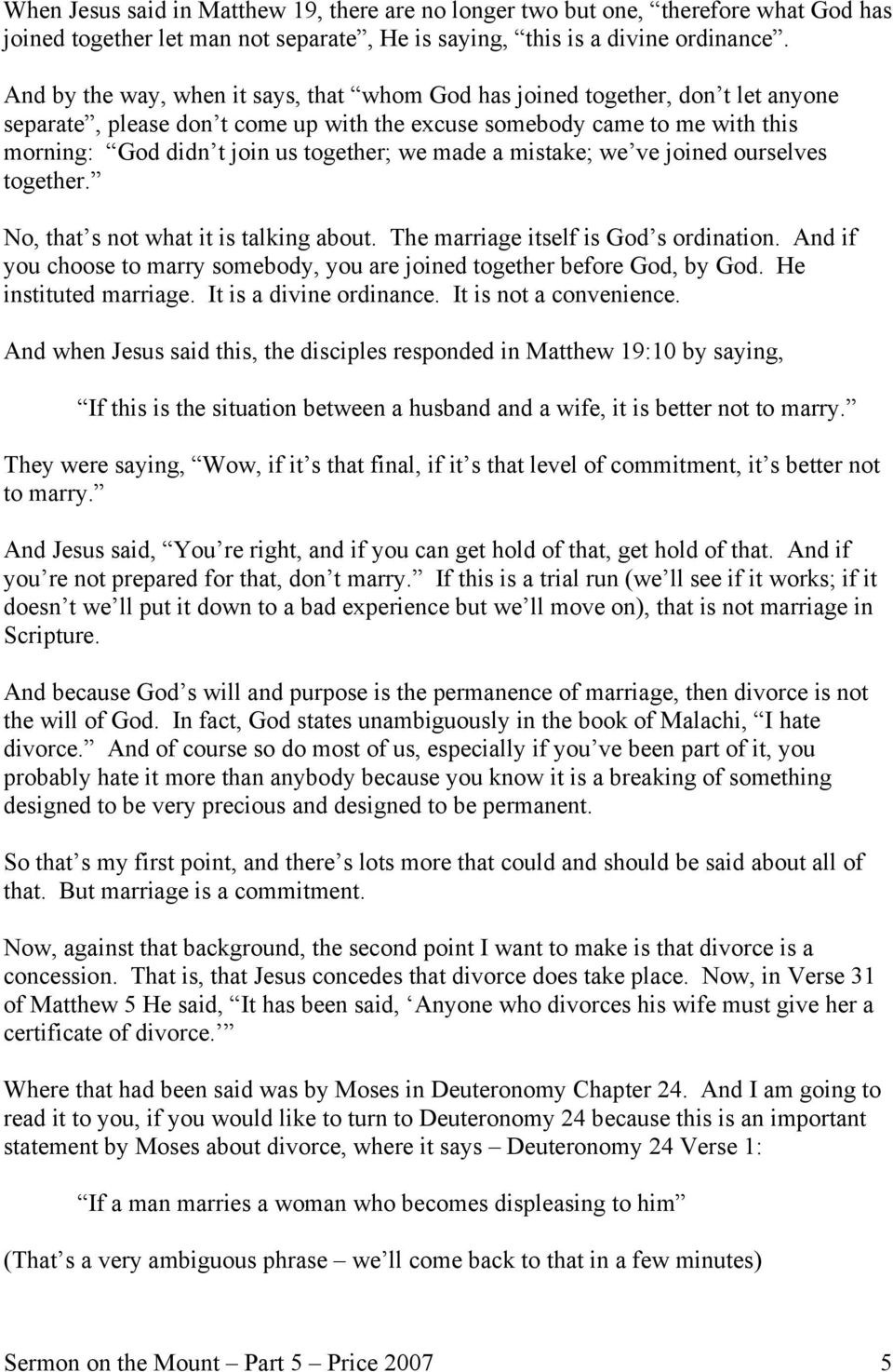 Sermon on the Mount Part 5 The Christian and Divorce Pastor Charles