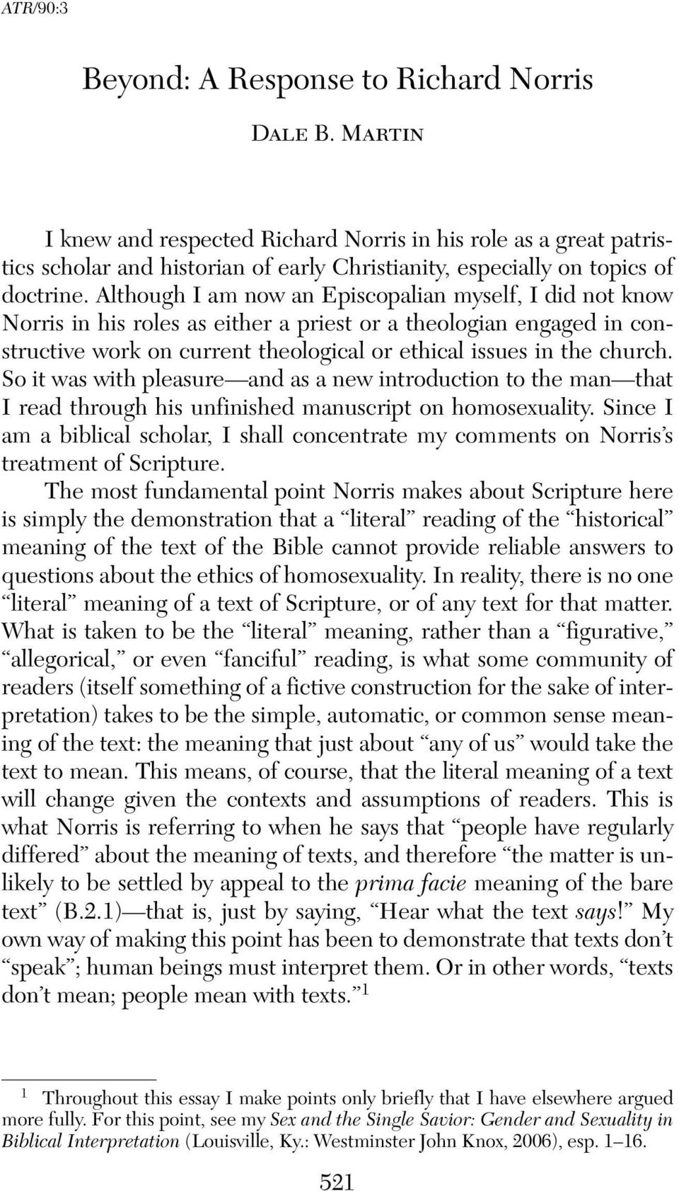 Dale martin sex and the single savior gender and sexuality in biblical interpretation