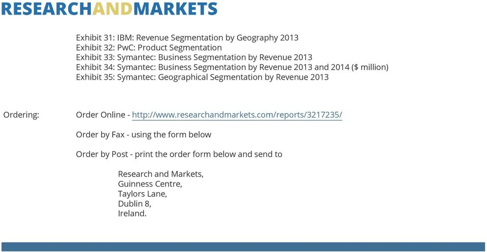 Geographical Segmentation by Revenue 2013 Ordering: Order Online - http://www.researchandmarkets.