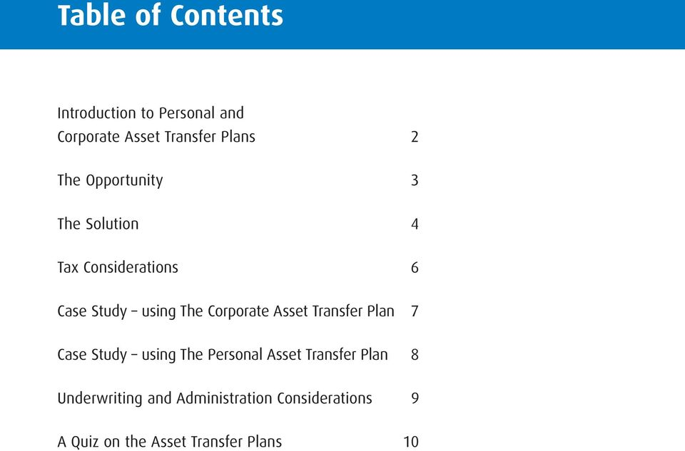 Corporate Asset Transfer Plan 7 Case Study using The Personal Asset Transfer Plan