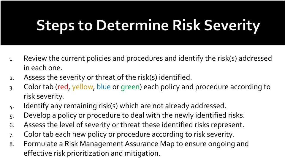 Develop a policy or procedure to deal with the newly identified risks. 6. Assess the level of severity or threat these identified risks represent. 7.