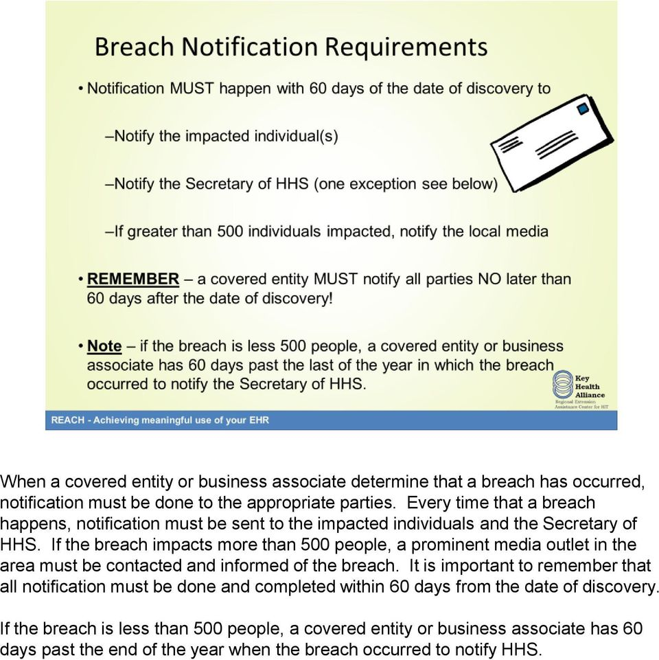 If the breach impacts more than 500 people, a prominent media outlet in the area must be contacted and informed of the breach.