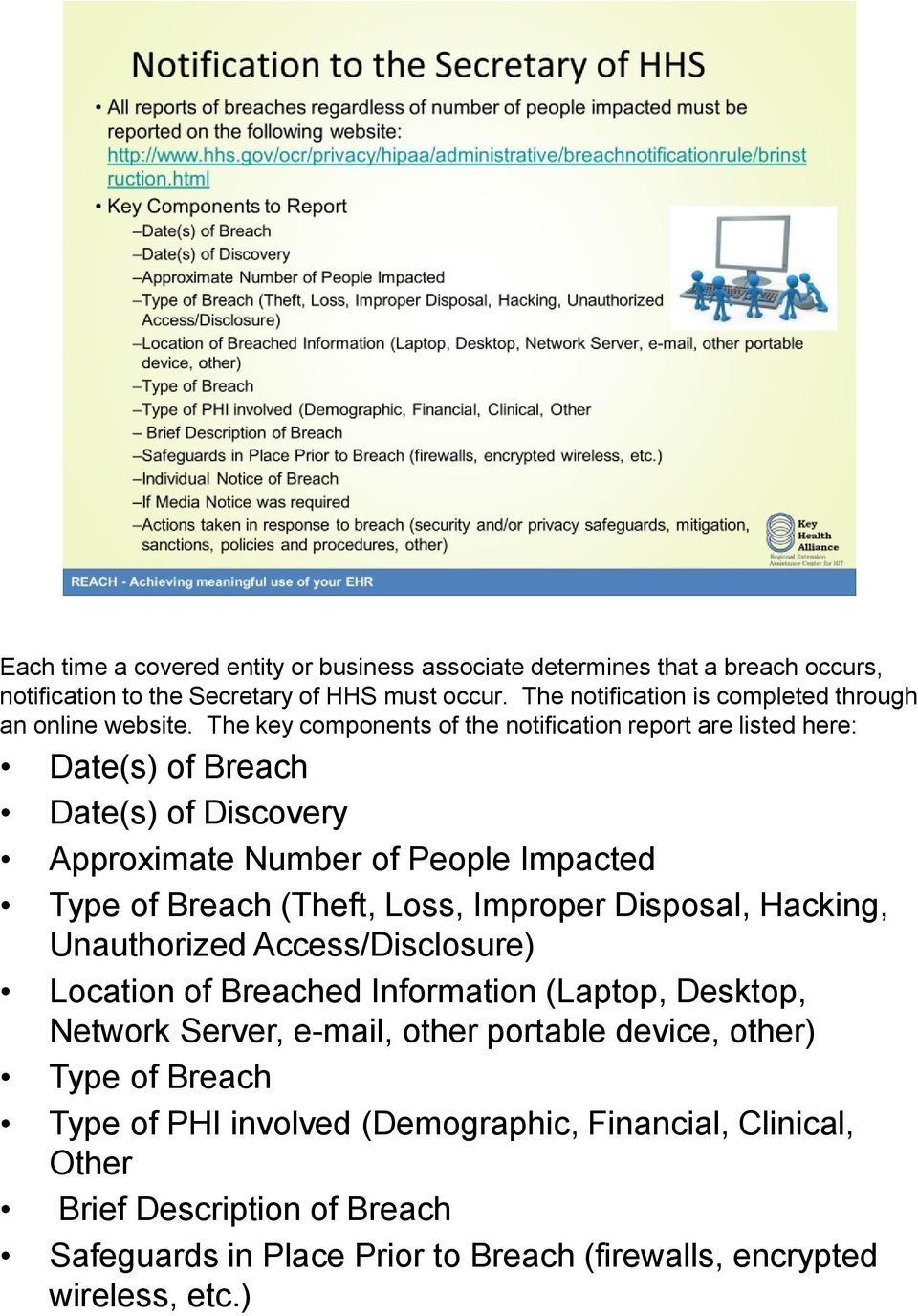 The key components of the notification report are listed here: Date(s) of Breach Date(s) of Discovery Approximate Number of People Impacted Type of Breach (Theft, Loss,