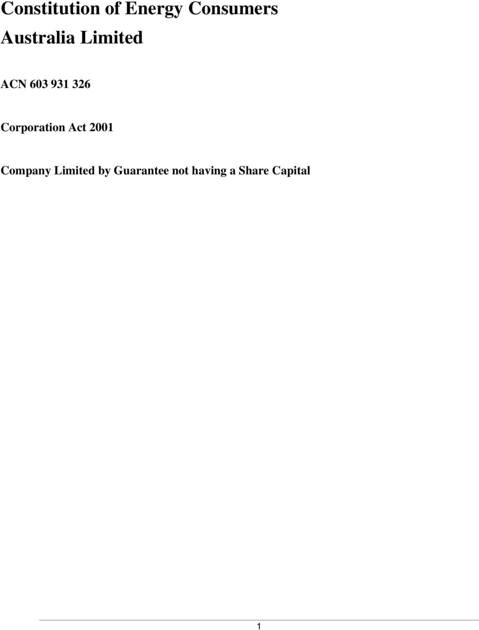 Corporation Act 2001 Company Limited