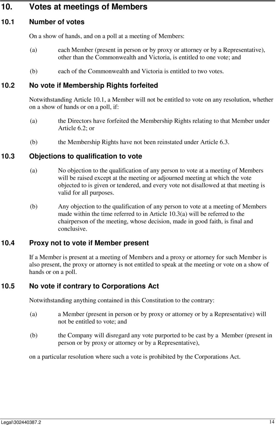 is entitled to one vote; and each of the Commonwealth and Victoria is entitled to two votes. 10.2 No vote if Membership Rights forfeited Notwithstanding Article 10.