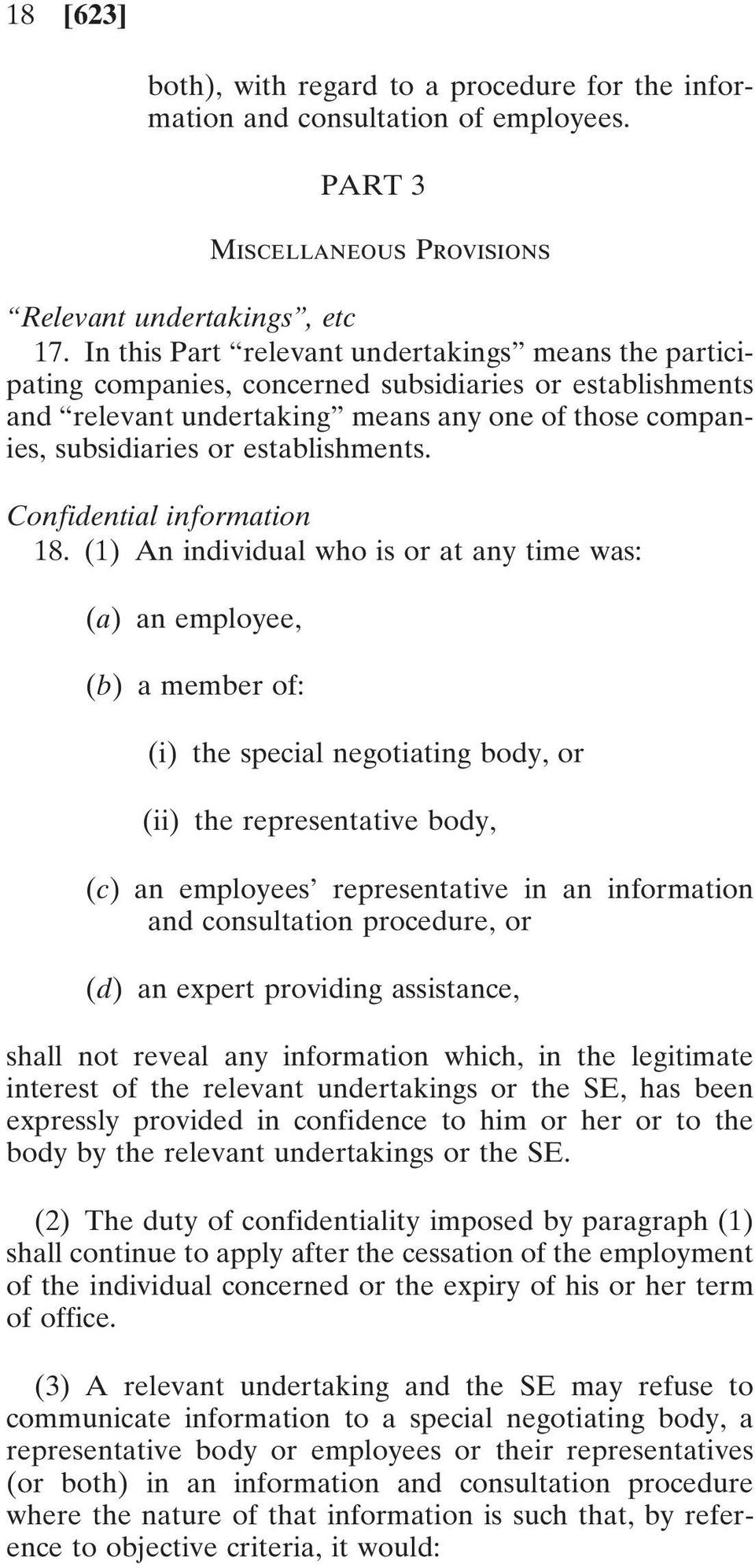 establishments. Confidential information 18.