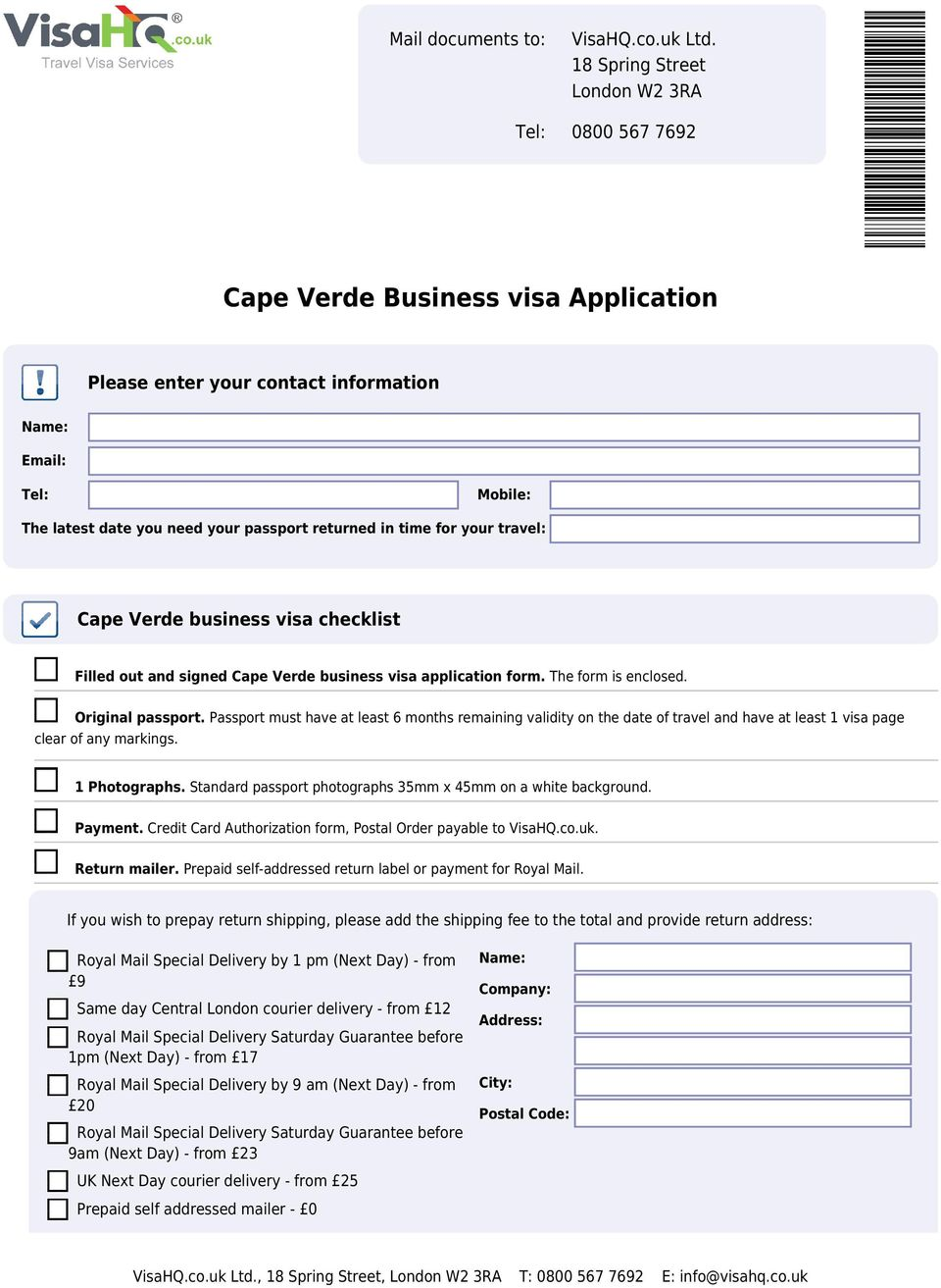 Cape Verde Business Visa Application Pdf Free Download