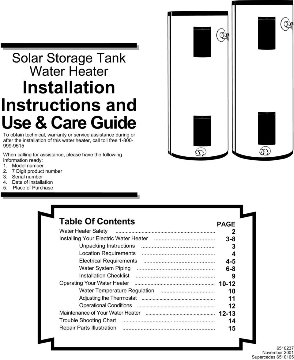 Solar Storage Tank Water Heater  Table Of Contents PAGE - PDF