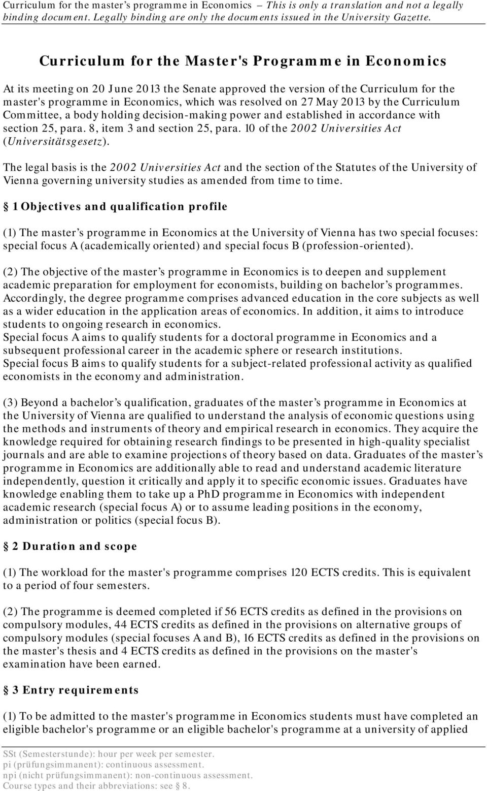 10 of the 2002 Universities Act (Universitätsgesetz).