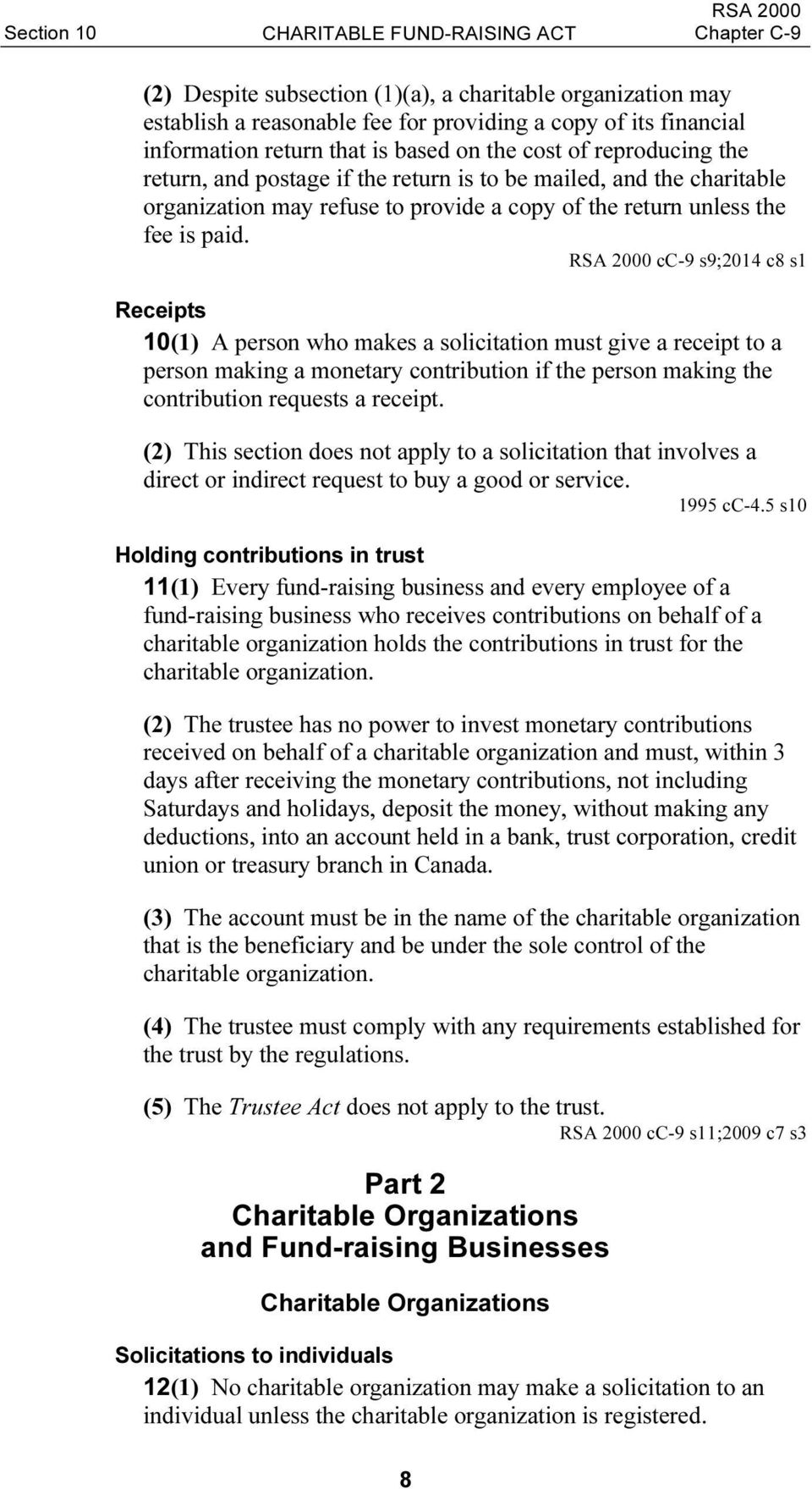 RSA 2000 cc-9 s9;2014 c8 s1 Receipts 10(1) A person who makes a solicitation must give a receipt to a person making a monetary contribution if the person making the contribution requests a receipt.