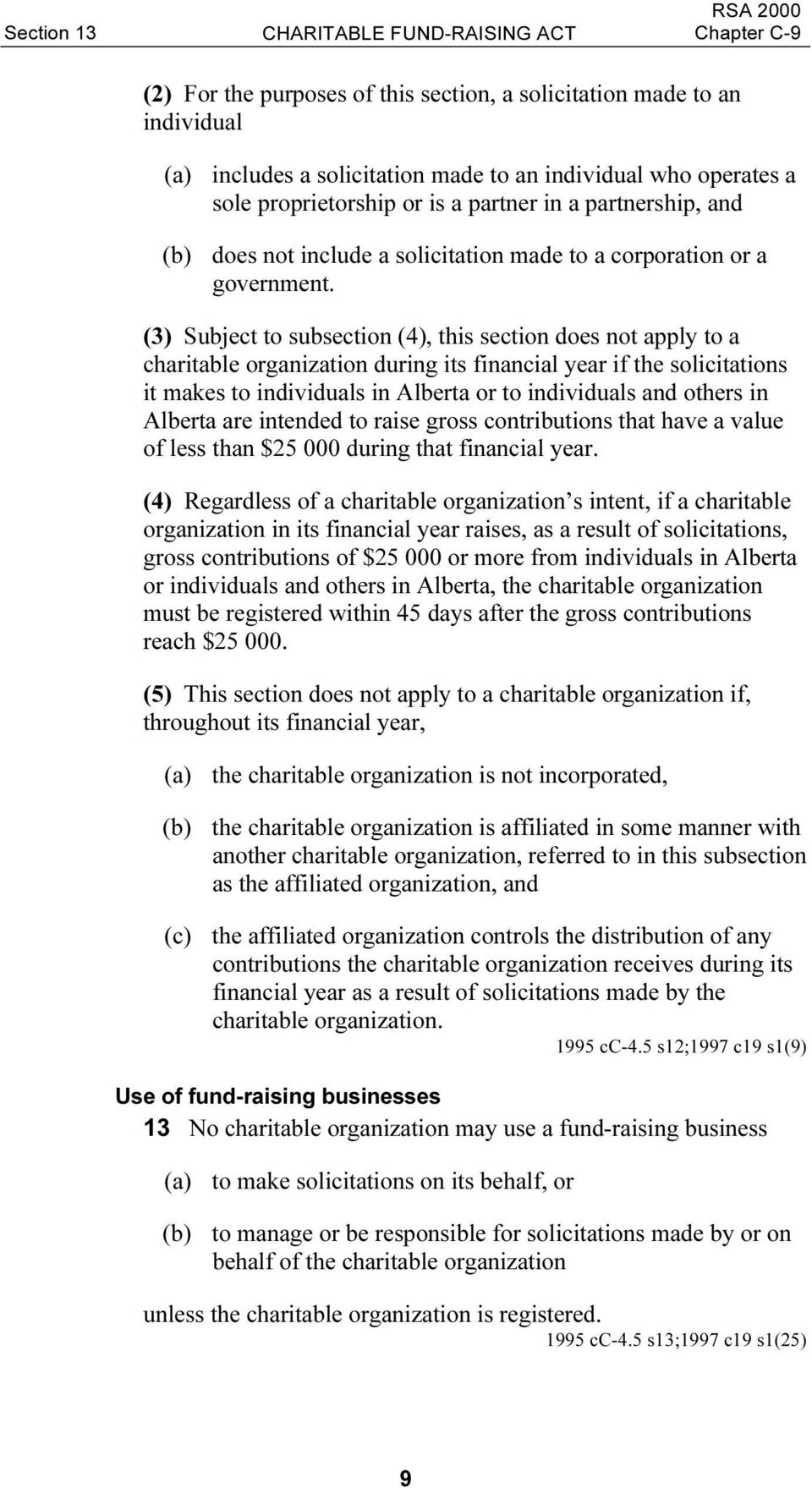 (3) Subject to subsection (4), this section does not apply to a charitable organization during its financial year if the solicitations it makes to individuals in Alberta or to individuals and others
