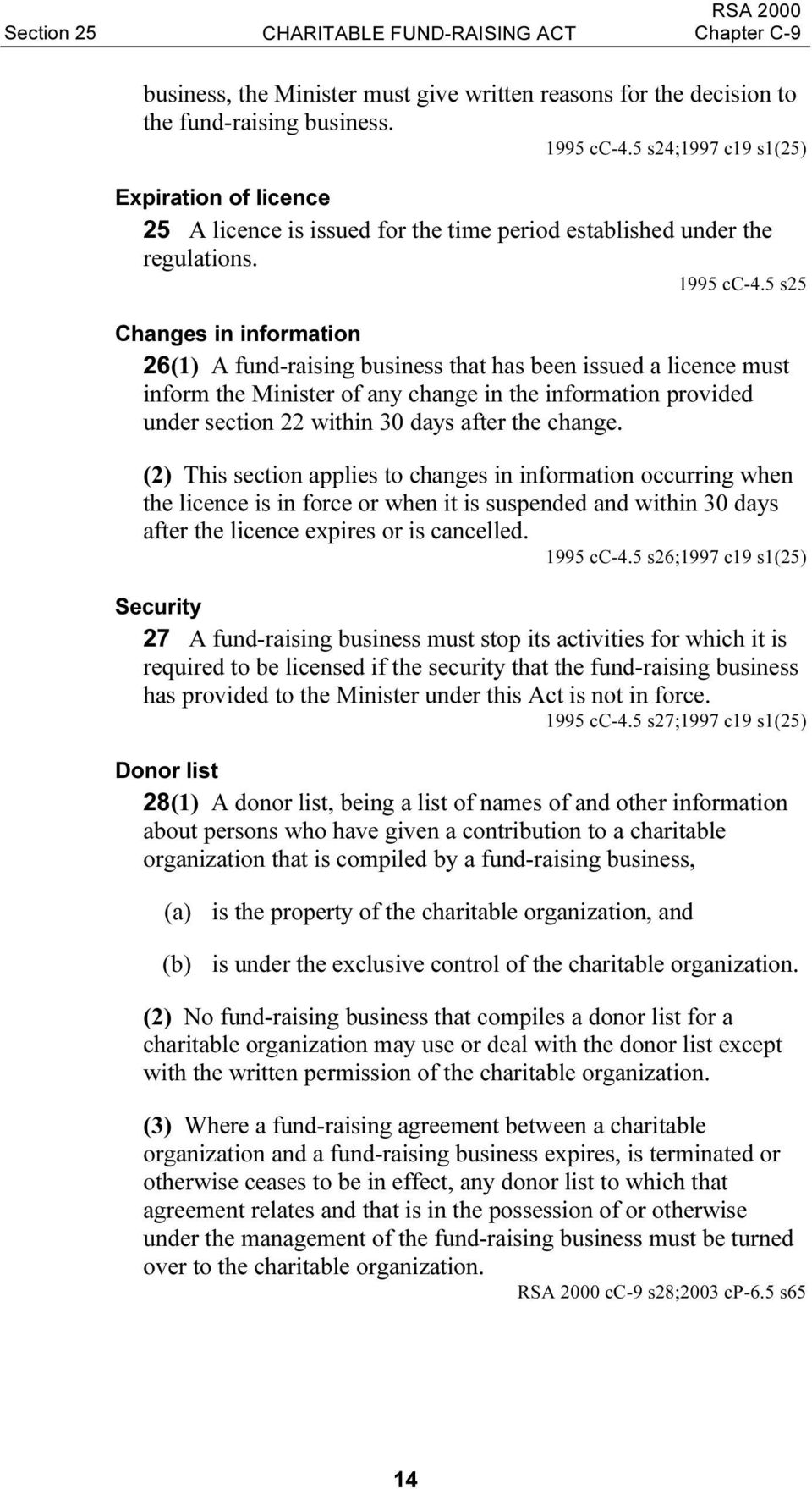 5 s25 Changes in information 26(1) A fund-raising business that has been issued a licence must inform the Minister of any change in the information provided under section 22 within 30 days after the
