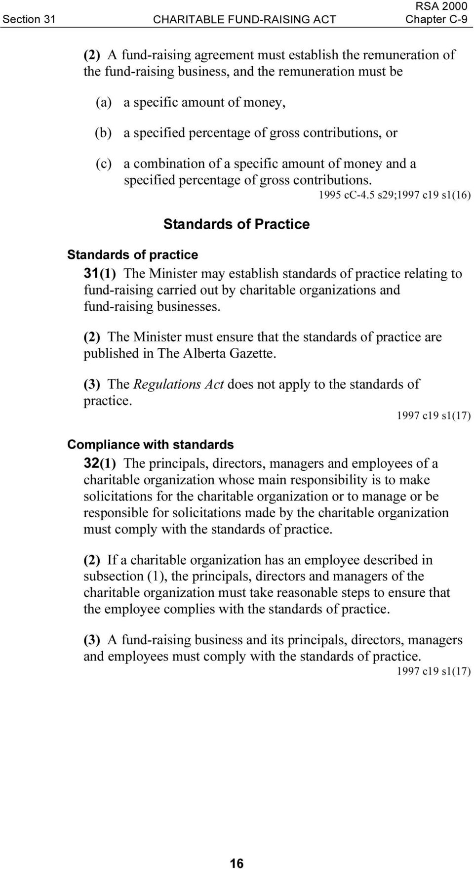 5 s29;1997 c19 s1(16) Standards of Practice Standards of practice 31(1) The Minister may establish standards of practice relating to fund-raising carried out by charitable organizations and
