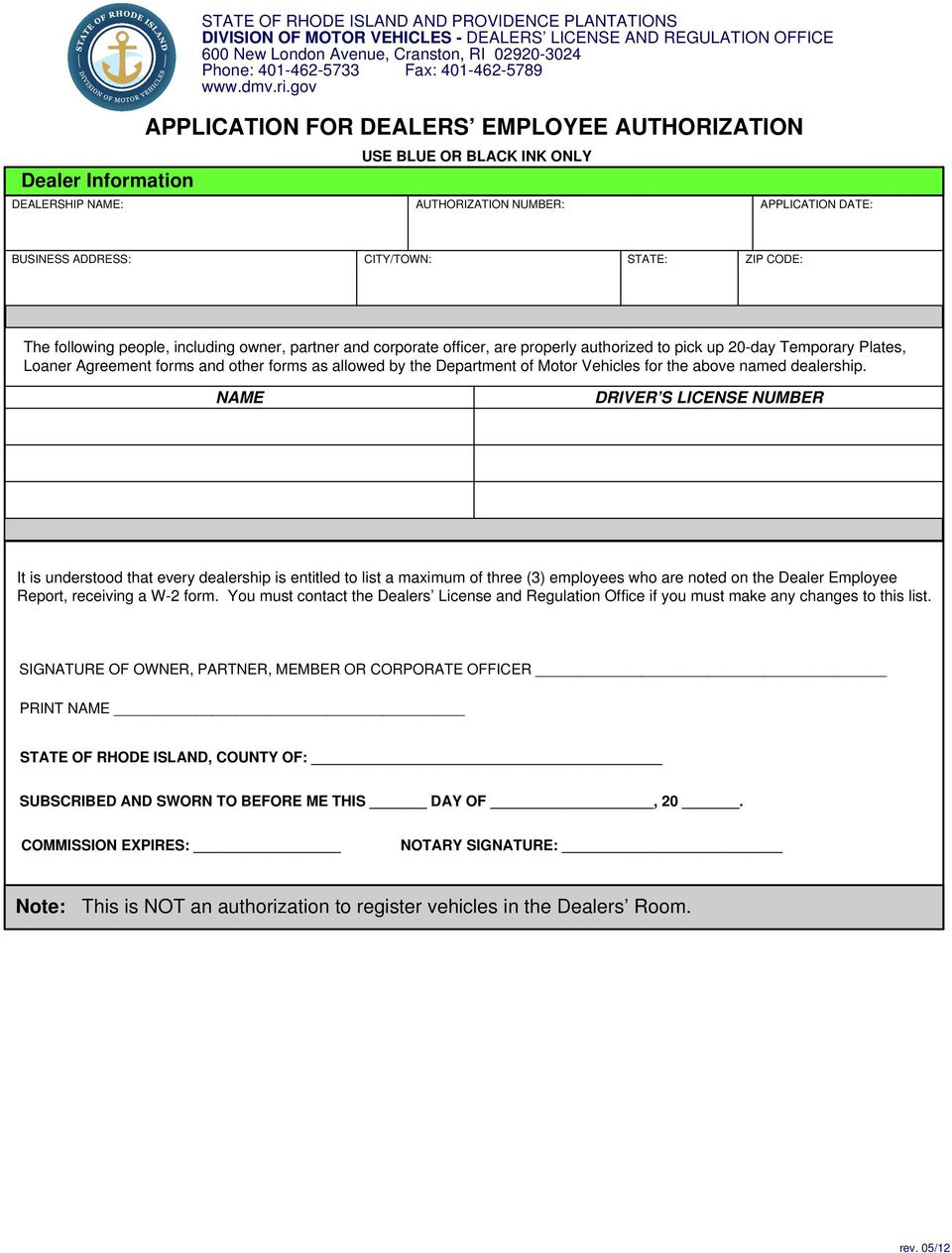 INSTRUCTIONS FOR APPLICATION FOR NEW DEALERSHIP - PDF