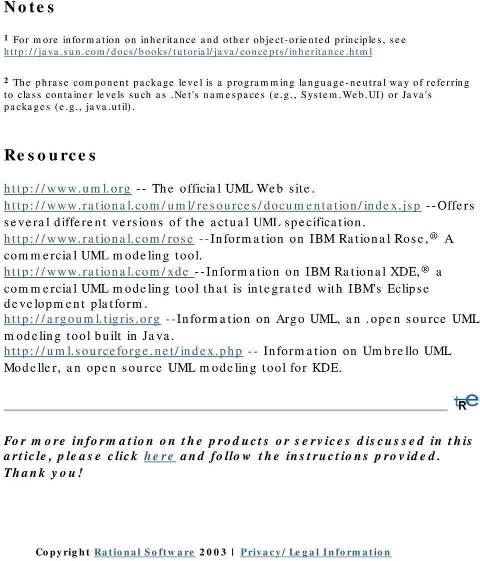 util). Resources http://www.uml.org -- The official UML Web site. http://www.rational.com/uml/resources/documentation/index.jsp --Offers several different versions of the actual UML specification.