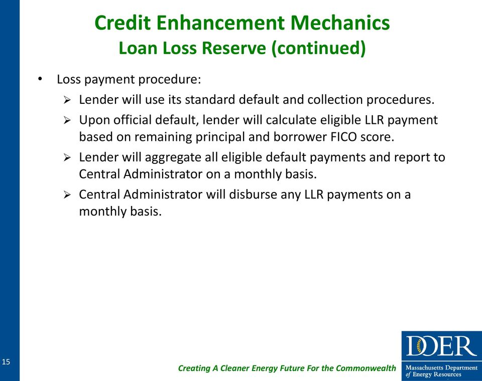 Upon official default, lender will calculate eligible LLR payment based on remaining principal and borrower FICO