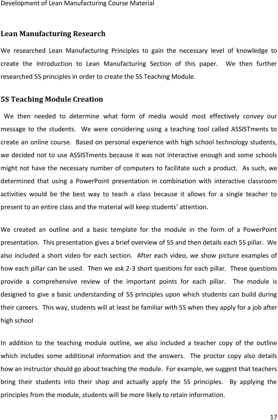 Development of Lean Manufacturing Course Material - PDF
