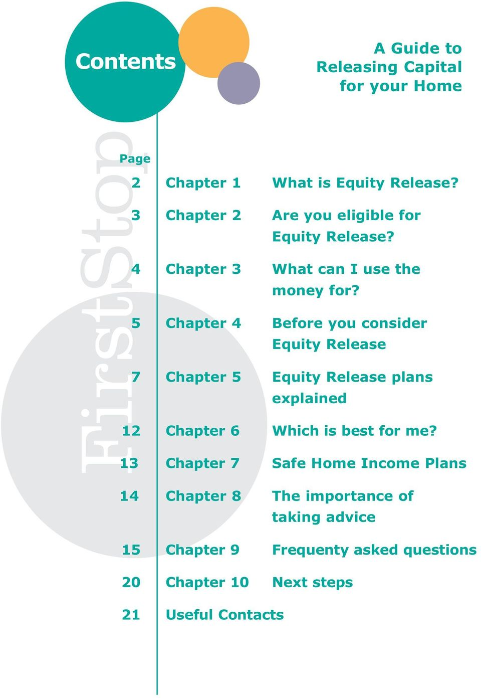 5 Chapter 4 Before you consider Equity Release 7 Chapter 5 Equity Release plans explained 12 Chapter 6 Which is best for
