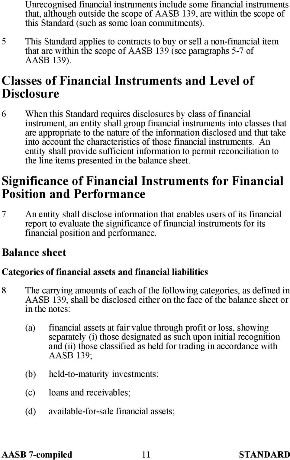 Classes of Financial Instruments and Level of Disclosure 6 When this Standard requires disclosures by class of financial instrument, an entity shall group financial instruments into classes that are