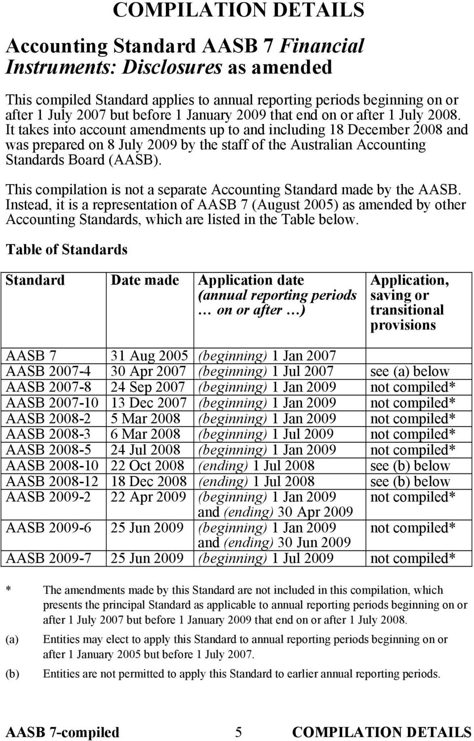 It takes into account amendments up to and including 18 December 2008 and was prepared on 8 July 2009 by the staff of the Australian Accounting Standards Board (AASB).