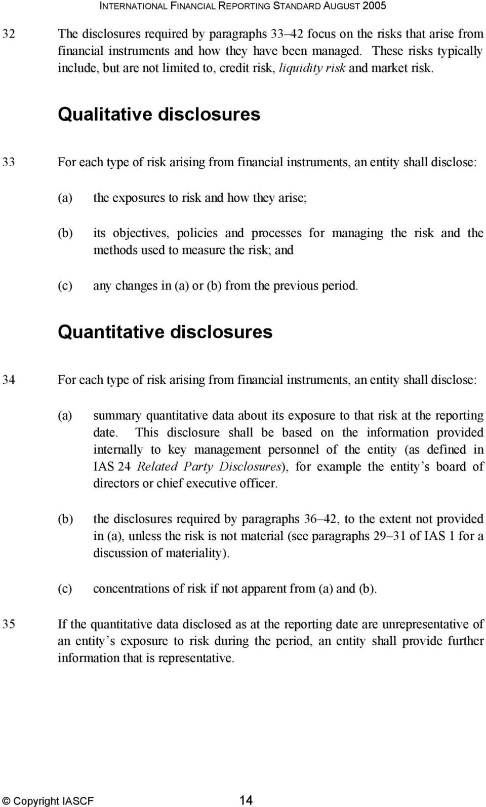 Qualitative disclosures 33 For each type of risk arising from financial instruments, an entity shall disclose: the exposures to risk and how they arise; its objectives, policies and processes for