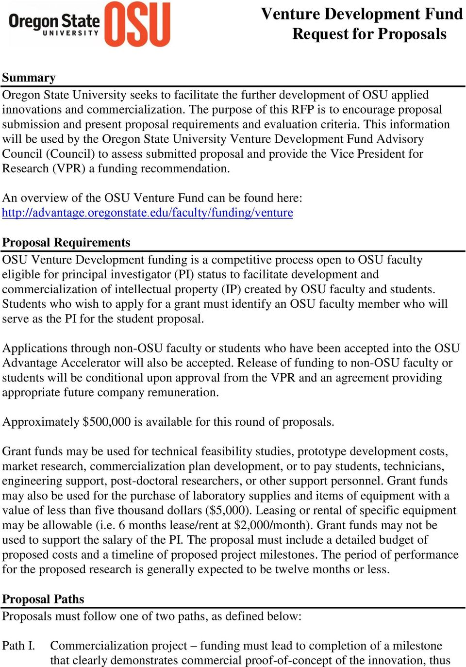 property development funding proposal