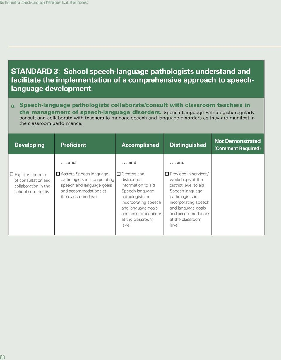 Explains the role of consultation and collaboration in the school community. Assists Speech-language pathologists in incorporating speech and language goals and accommodations at the classroom level.